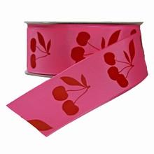 r691 Ruban rose avec motif cerise