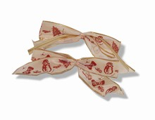 bow130 bows ivory/burgundy