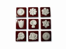 art14122 moule chocolat carrés motif floral