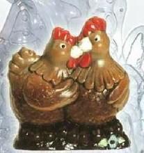 Couple de poules moule double