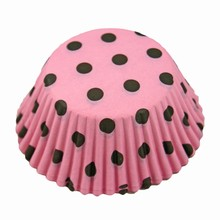 (s85mppd5)Brown polka dots on pink cupcake liners