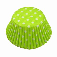 (s85mgpd5)white polka dots on lime green cupcake liners