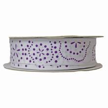 r696 Ruban floral violet et blanc