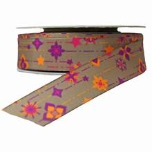 Floral motif on khaki ribbon