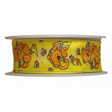 r594 Whimsical yellow motif bear and honey ribbon