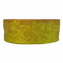Ruban chartreuse imprimé floral victorien
