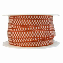 Ruban motif petits carreaux orange brûlé et beige