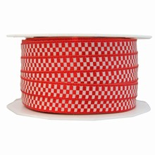 Red and white checkered pattern ribbon