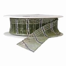 r47 Ruban semi-transparent vert forêt et argent métallique