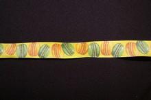 Ruban jaune macarons multicolores
