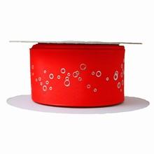 Ruban rouge motif bulles de poisson argent métallique