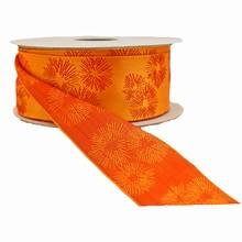 r169 Ruban orange fleurs stylisées fuschia réversible