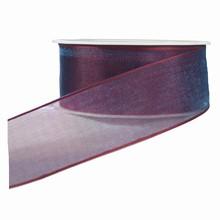 Sheer burgundy ribbon with azure shimmer