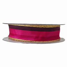 R1087 Fuschia and purple striped ribbon