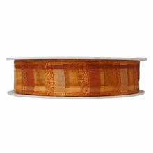 R1151 Sheer orange hues plaid ribbon