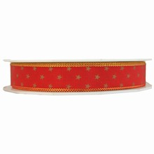 Red ribbon with star motif and gold edging