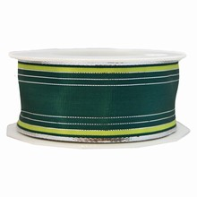Silver, lime green and forest green striped ribbon