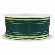 Ruban à rayures vert lime, argentée et vert forêt