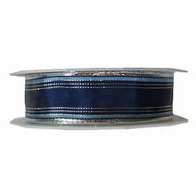 r992 Ruban à rayures bleu poudré, argentée et bleu marine