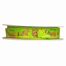 r631 Ruban vert lime avec motif lapins