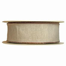 Linen finish ribbon with brown border