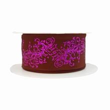 Ruban marron avec motif violet