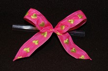 bow132 Boucles Rose avec coeurs lime