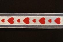 VA23 Valentine ribbon red hearts on cream