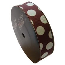 rb41 Brown ribbon with mint polka dots