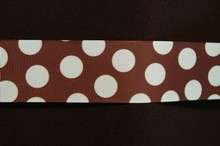 rb42 Brown ribbon with mint polka dots