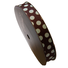rb40 Brown ribbon with mint polka dots