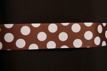 rb39 Brown ribbon with white polka dots