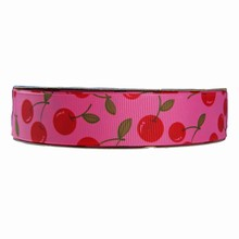 rb33 Fuschia ribbon with cherry motif