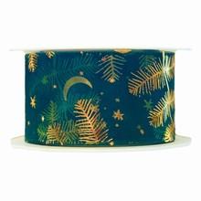 r227 Sheer forest green ribbon with golden fir motif