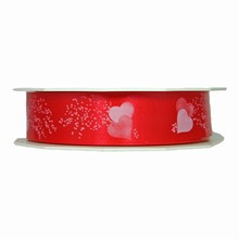 r541 White hearts on red polypropylene ribbon