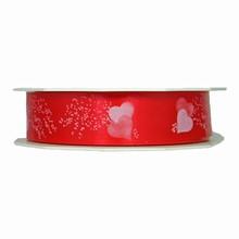 r541 Ruban polypropylène coeurs blancs sur rouge