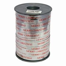 RB616 Ruban bolduc argent métallique 'Merry Christmas' en rouge