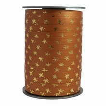 RB101 Bolduc ribbon gold star motif on coffee color bicolour
