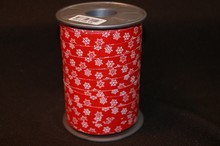 Bolduc ribbon white snowflakes on red