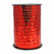 RB612 Bolduc ribbon 'Joyeuses Fêtes' in gold on metallic red