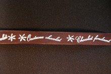 Brown ribbon with Chocolate wording in cream