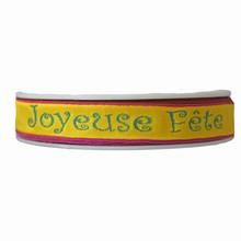 rp37'Joyeuse Fête' ribbon in fuschia, turquoise and yellow