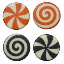 Plaques thermoformées motif Bonbons orange et noir