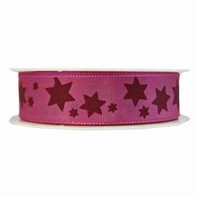 r229 Pink ribbon with burgundy stars