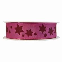 r229 Ruban rose avec étoiles bourgogne