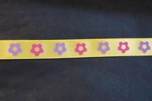 rb23 Floral satin ribbon yellow