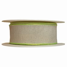 Linen finish ribbon with lime green border