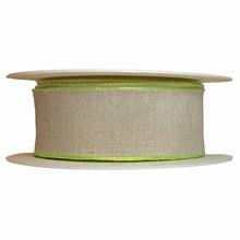 Ruban fini lin avec bordure vert lime