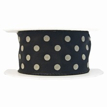 Black and grey polka dot ribbon