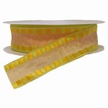 Ruban crème avec motif géométriques lime et jaune